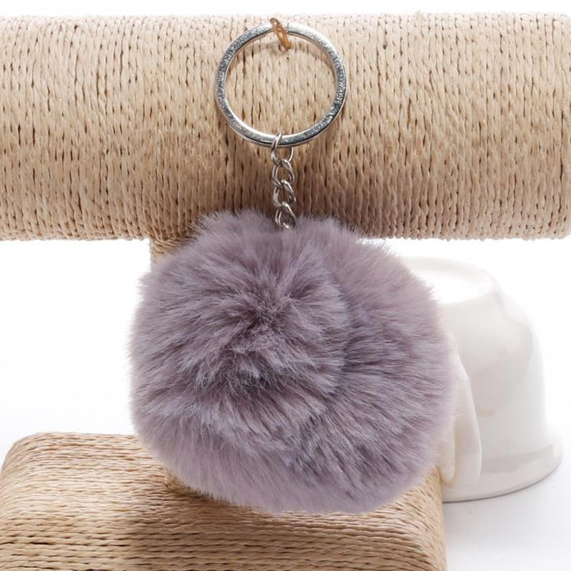 Soft Faux Fur Ball Keychains